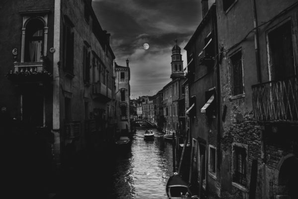 Venice at night, italy, venice, canals, water, city, black and white, moon
