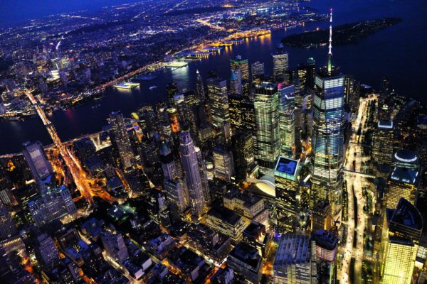 New york illuminated at night, night, lights, new york, city, buildings, skyscrapers, manhattan, aera fotografia, drone