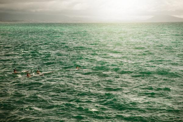 Sailing in kayak, paddle, kayak, sports, water, green, waves