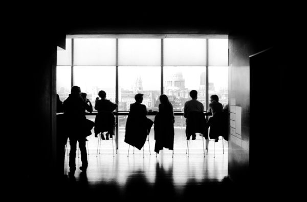 silhouettes in a cafe, people, people silhouette, cafe, meeting, building, window, black and white