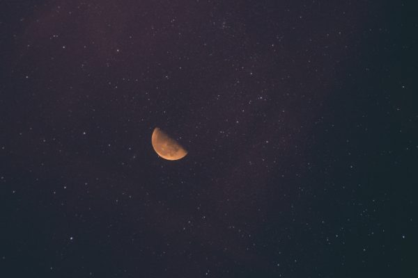 Red moon, moon, space, sky, star, quarter waning