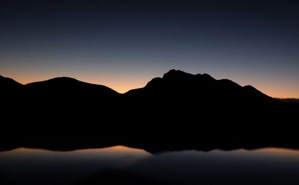 perfect silhouette of mountains, silhouette, lake, reflection, mountains, sky, saws