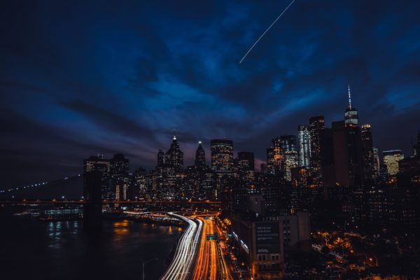 New york illuminated, new york, cars, city, night, lights